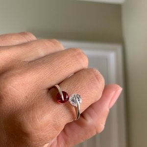 Red & White Stone Sterling Silver Ring Size 9.5
